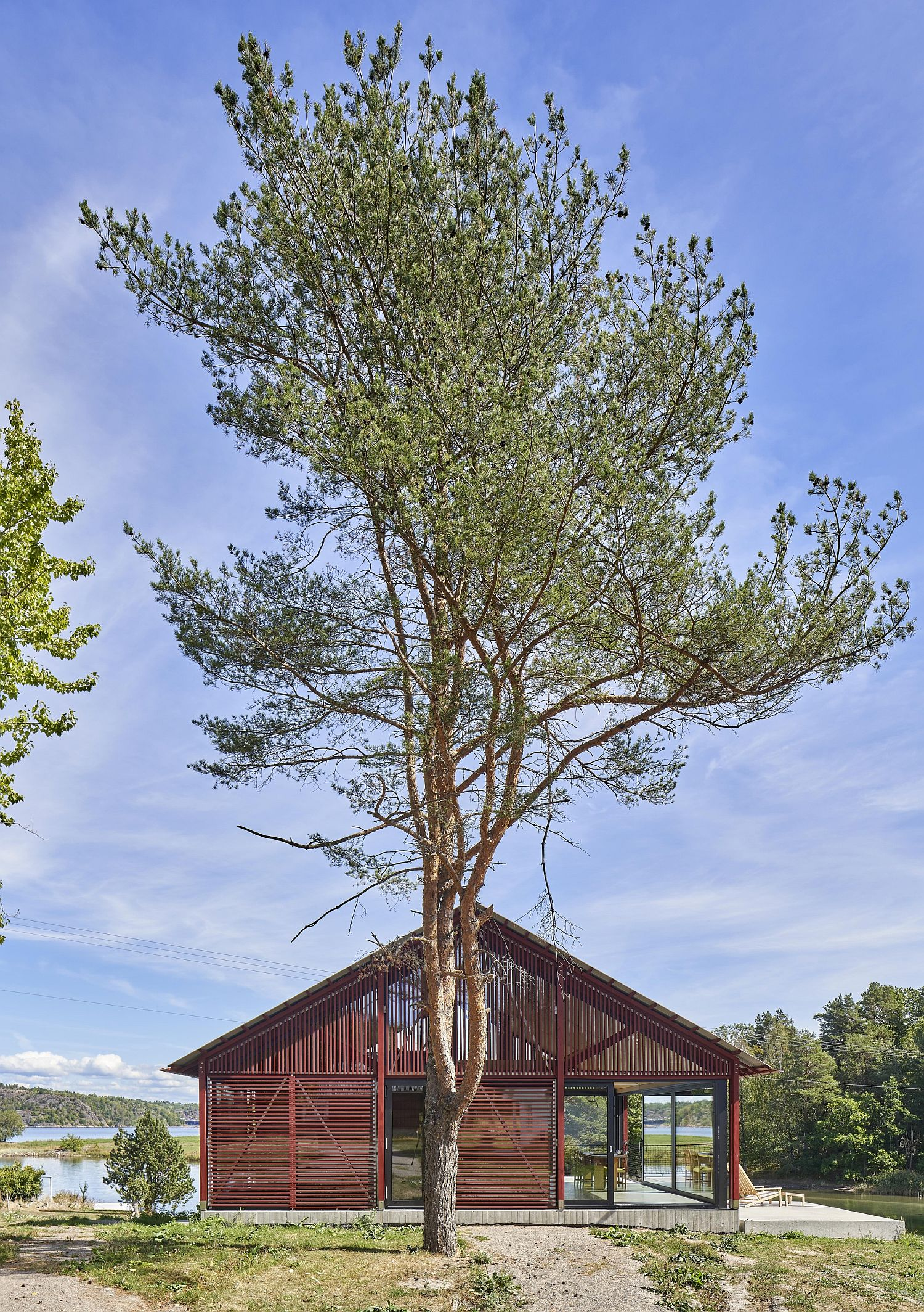 Cabin can be opened and closed to various degrees using wooden shutters
