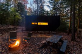 Tiny Cabin in the Woods Charms with Dark Exterior and Versatile Design