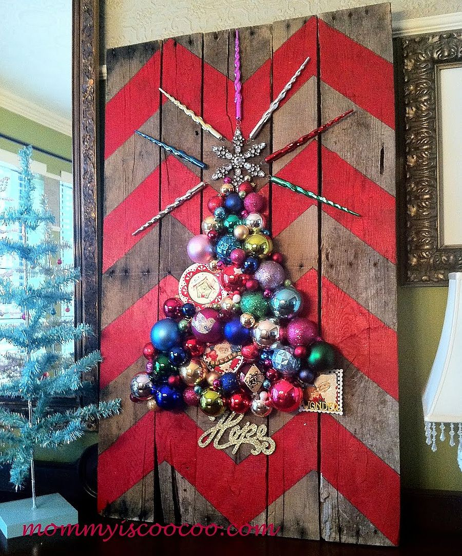 Christmas tree crafted using ornaments with chevron pattern in the backdrop