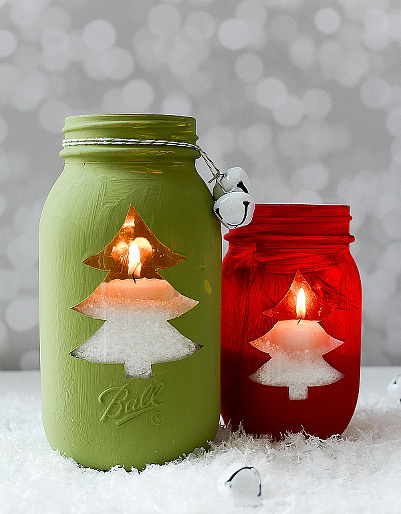 Christmas tree motifs combined with Mason Jars always work well