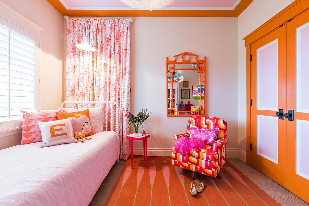 Colorful-girls-room-in-orange-pink-and-white