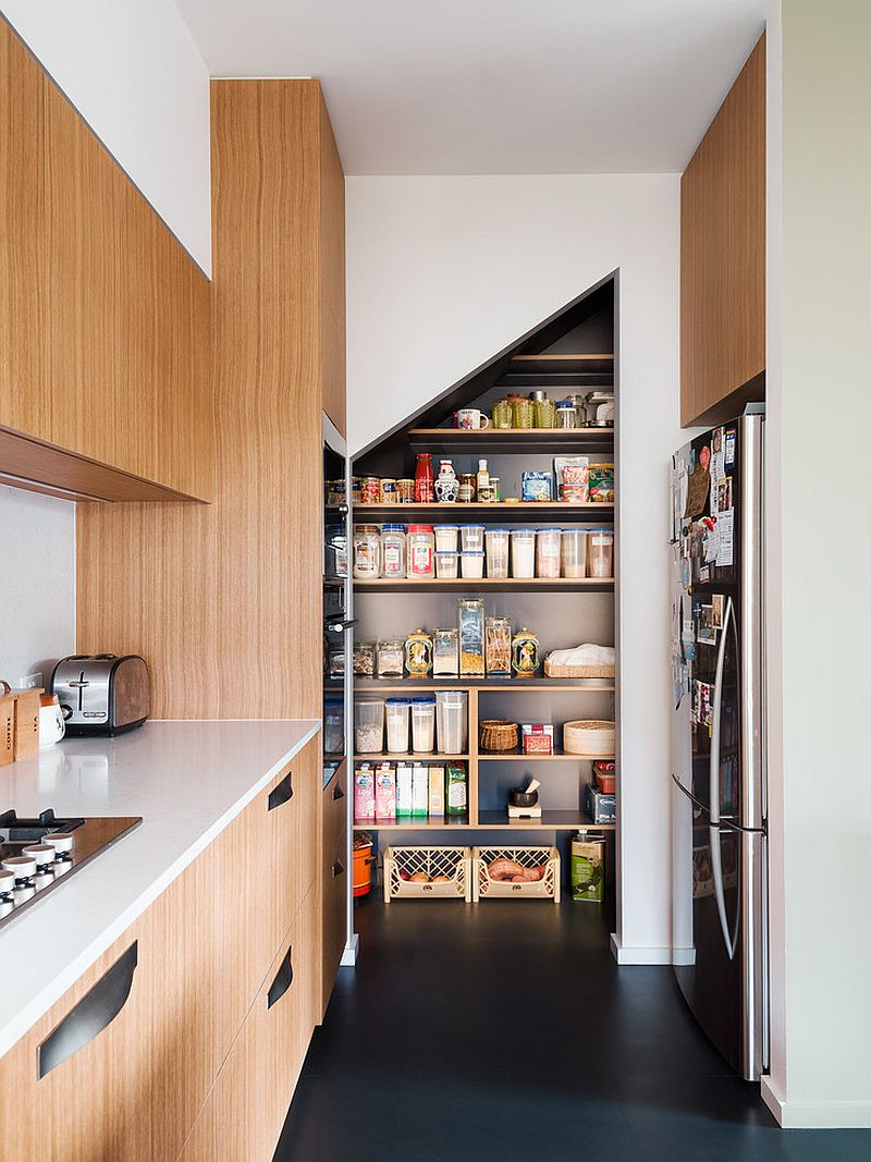 Contemporary kitchen with pantry in the corner