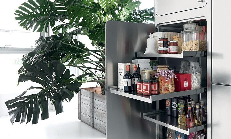 Contemporary pantry with smart drawers can be hidden when not needed