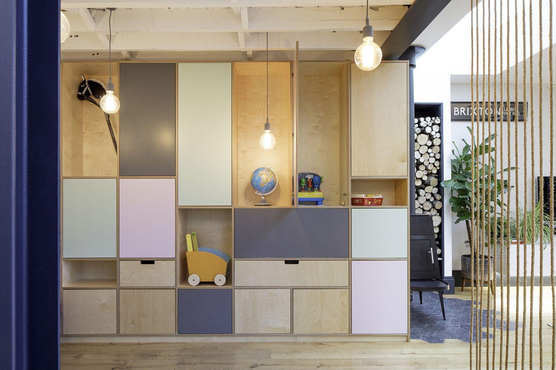 Creative shelves across different levels maximize space