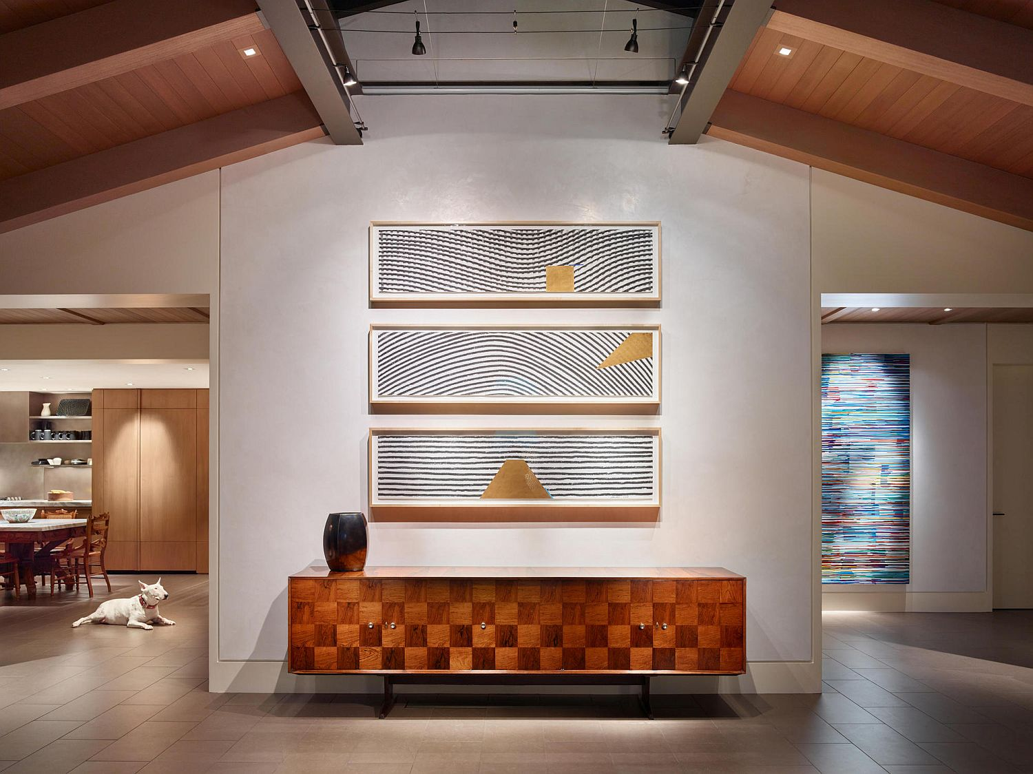 Credenza adds warmth and elegance to the entrance