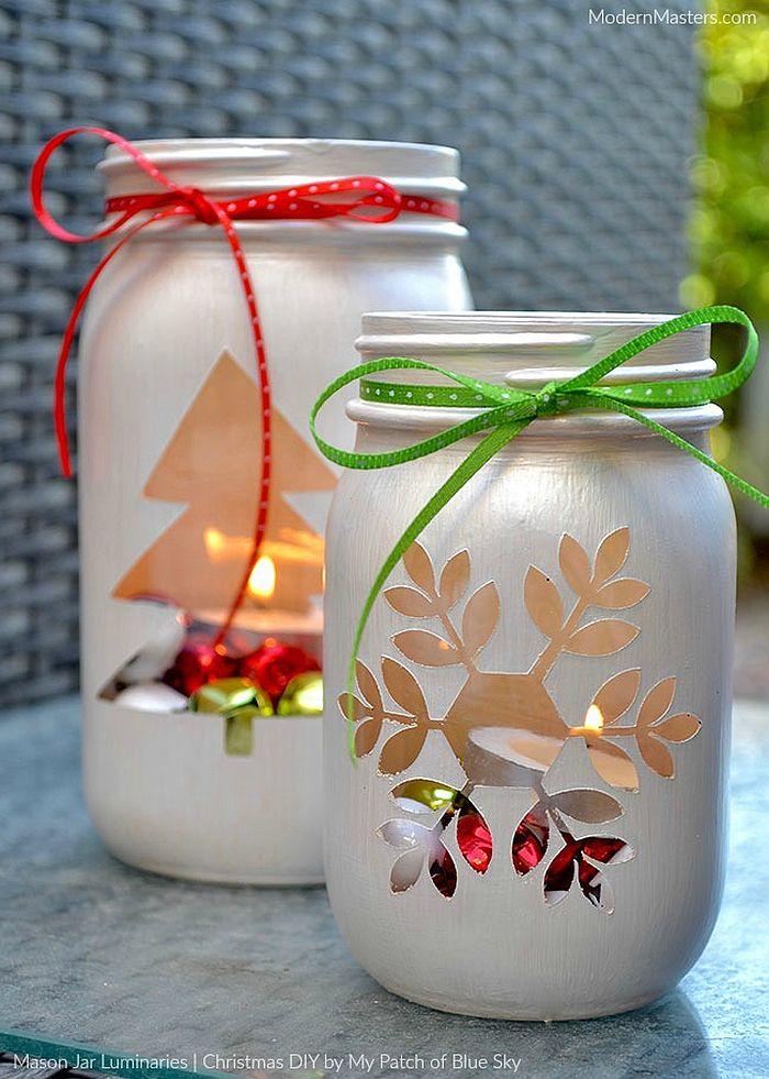 DIY Mason Jar Luminaries for Christmas and beyond