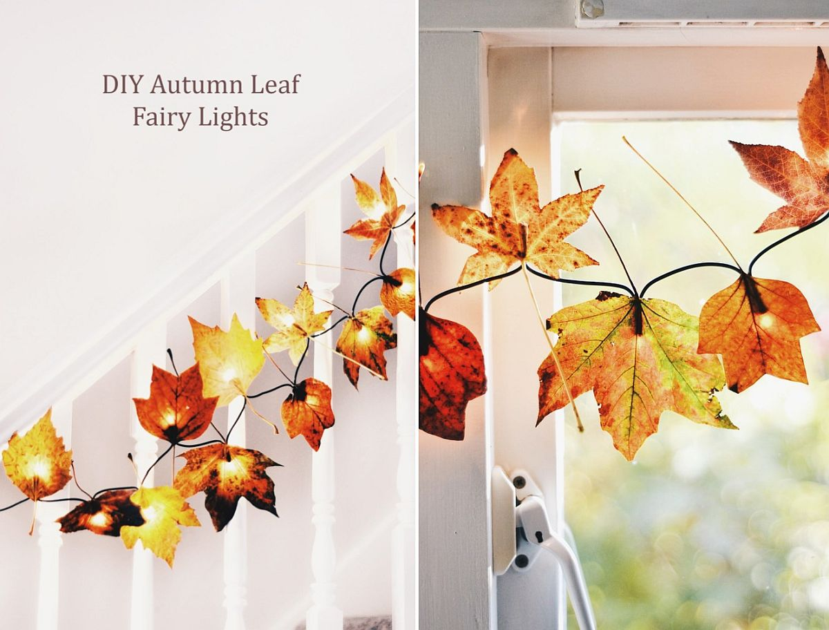 DIY autumn leaf fairy lights look great during Christmas as well