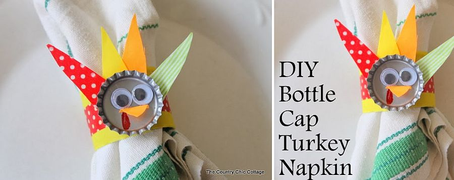 DIY bottle cap turkey napkin rings