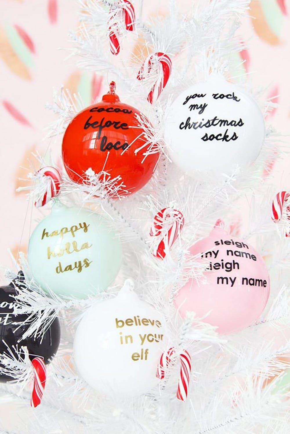 DIY punny Christmas ornaments