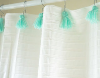 A DIY Shower Curtain with Tassels