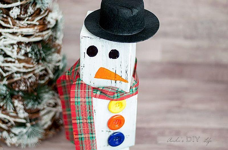 DIY wood block snowman idea