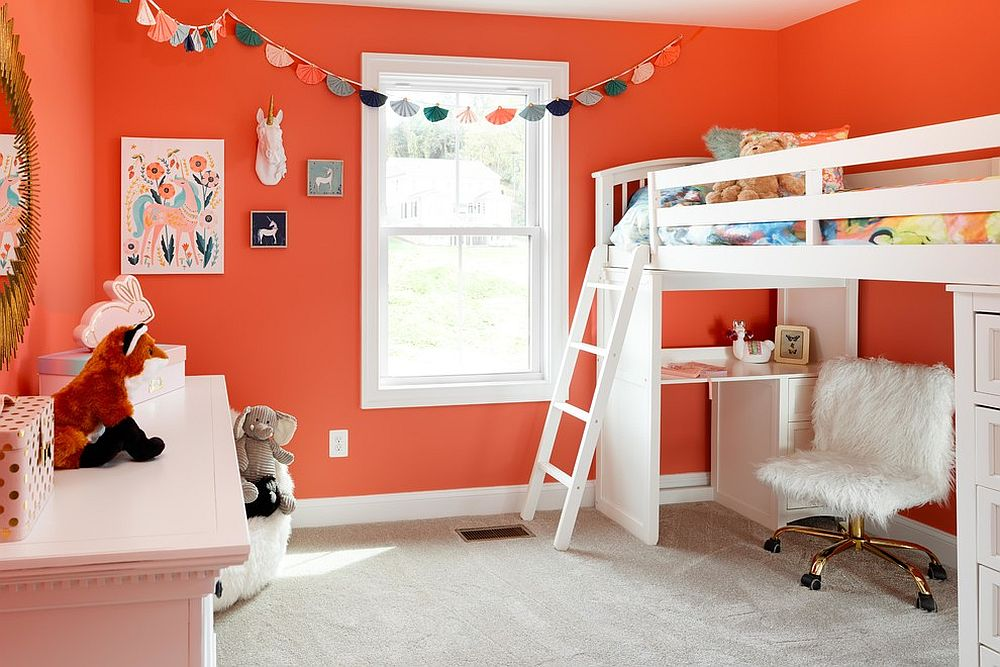 Darker shade of orange gives the room a brighter visual appeal