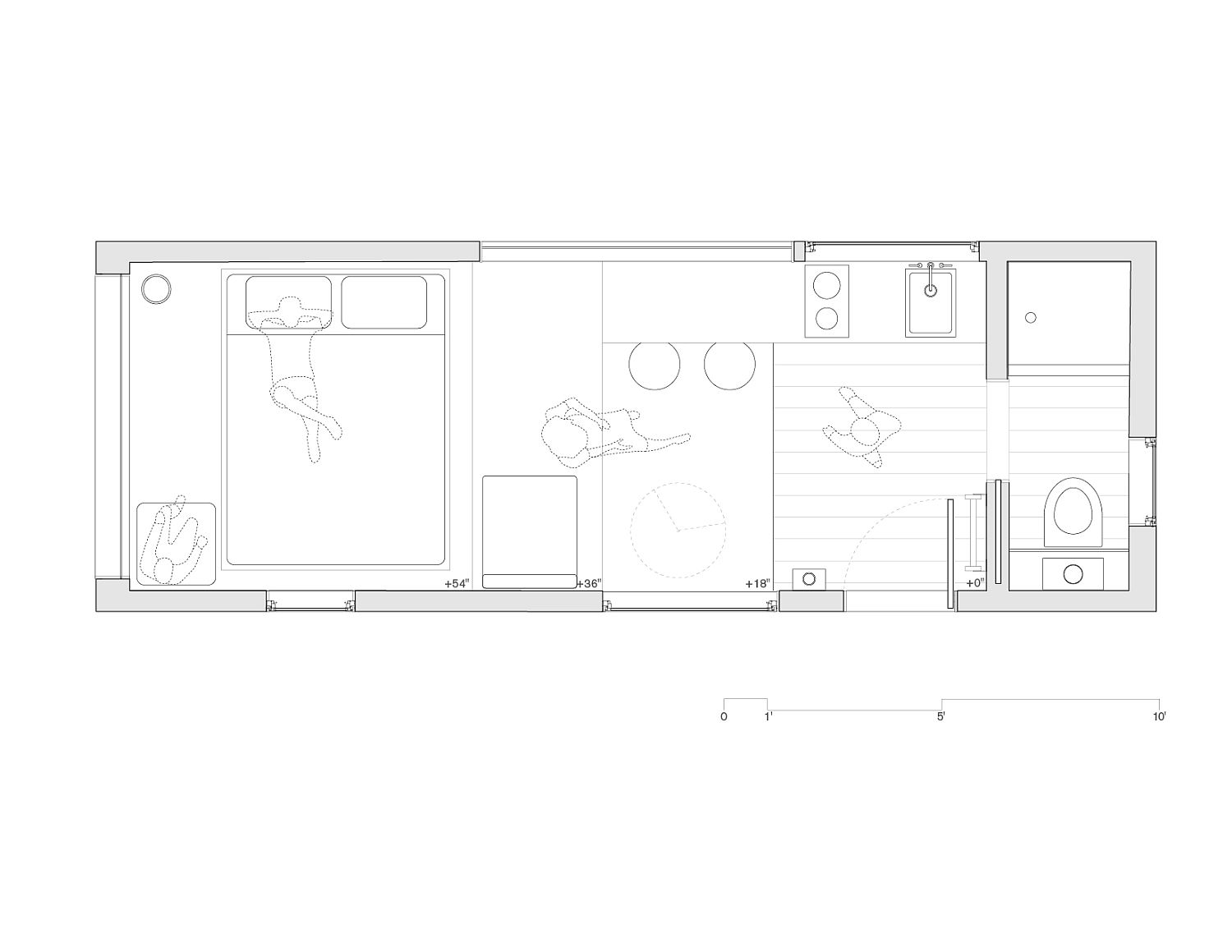 Design plan of cabin in the mountains with minimal footprint