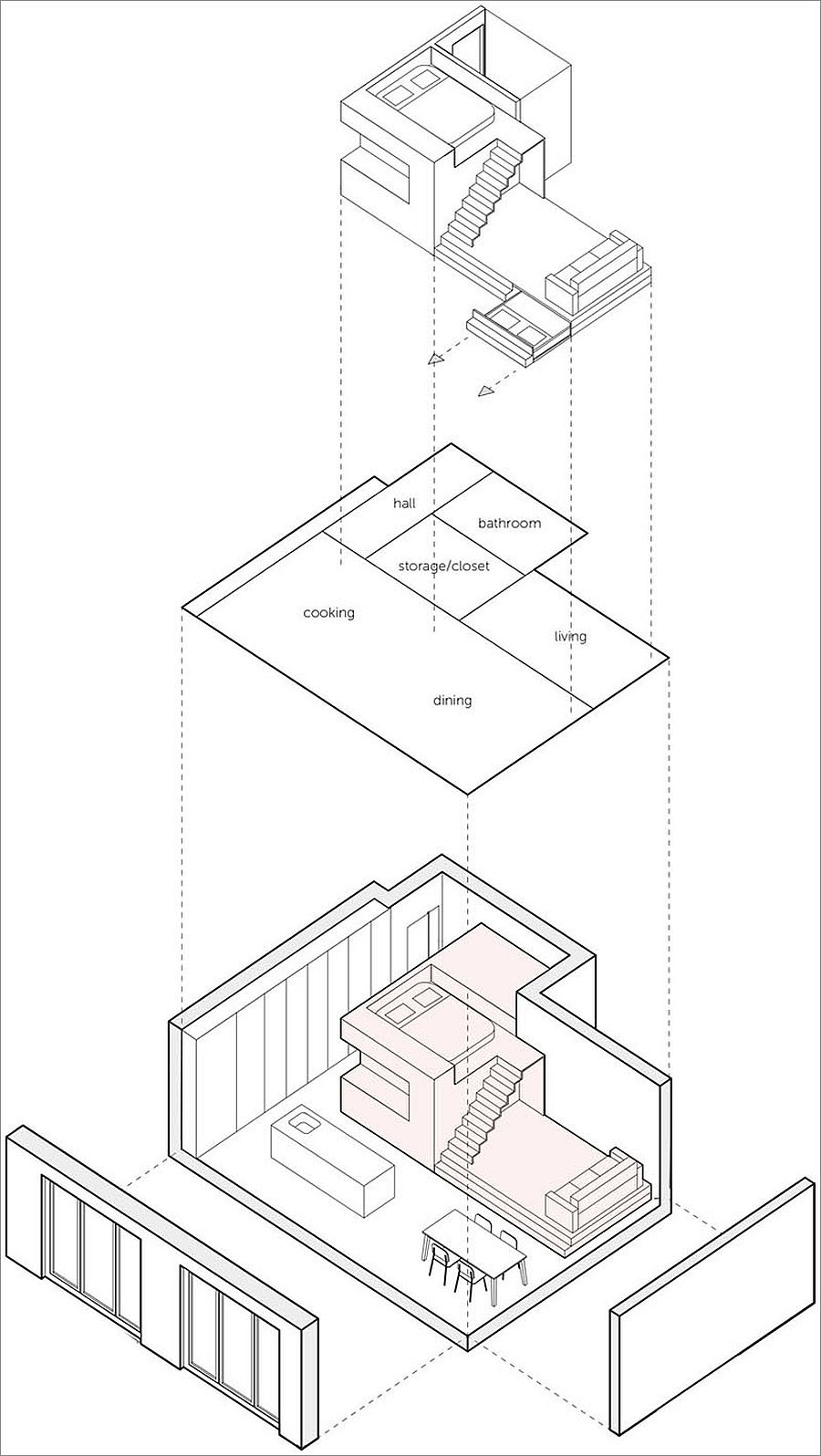 Design plan of tiny loft apartment in Amsterdam