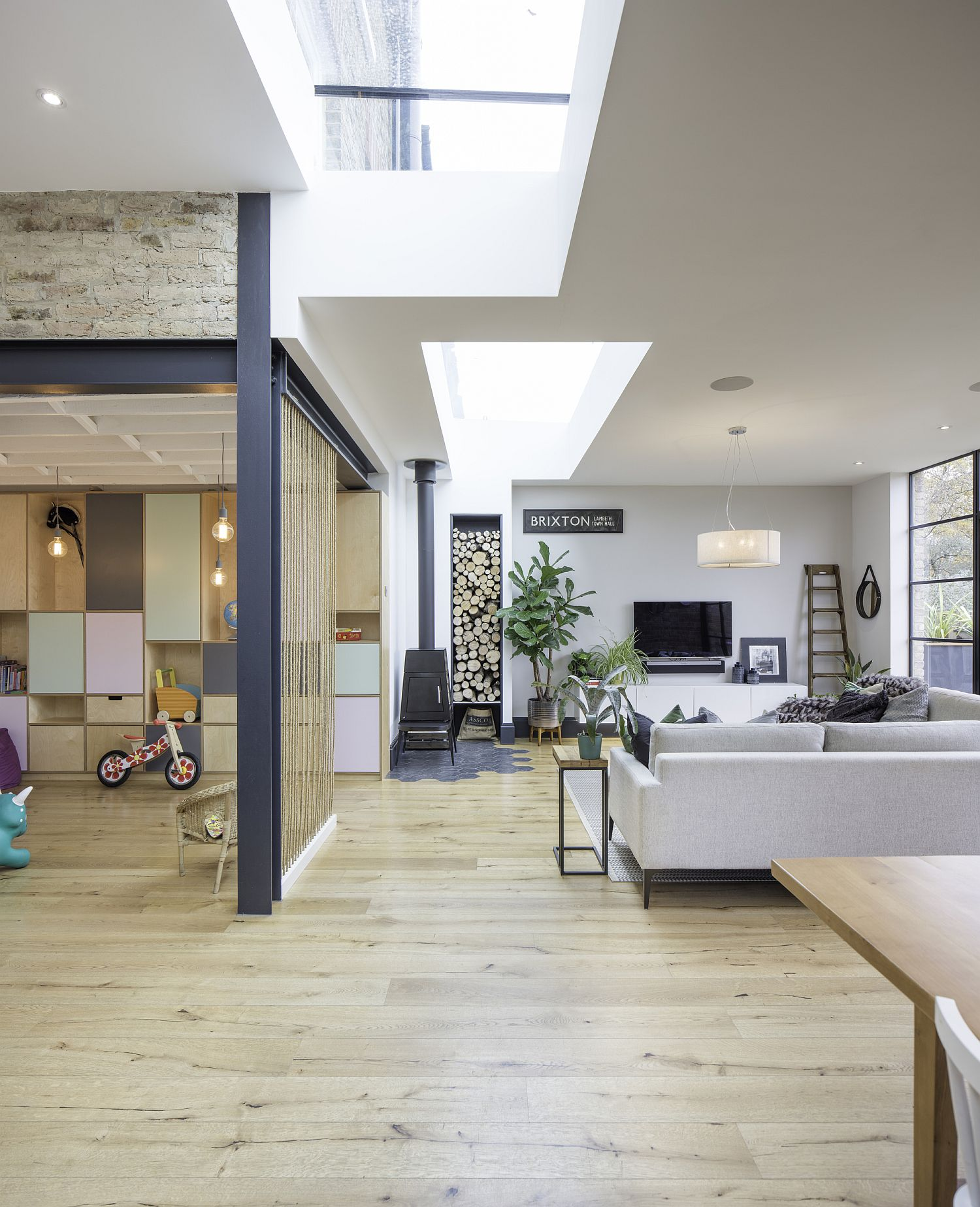Different textures and finishes find space inside the lovely London home