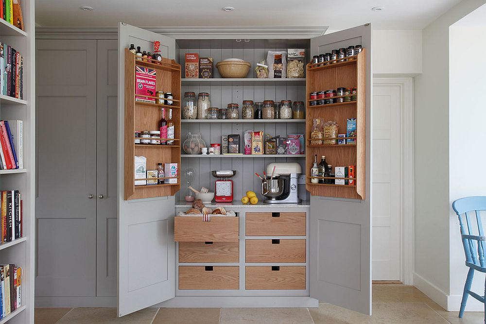 Even a cabinet can be turned into a pantry with ease in the small kitchen