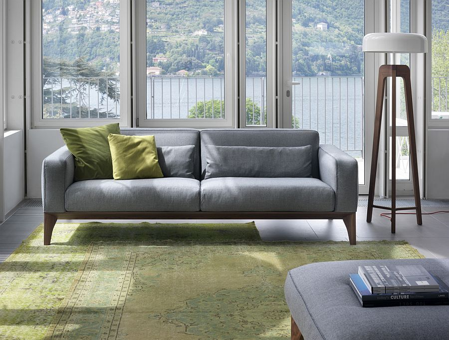 Exquisite contemporary sofa in gray from Porada