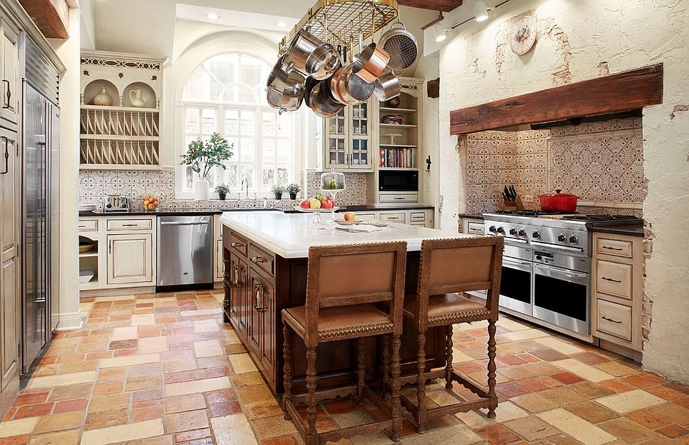 Exquisite farmhouse kitchen with Moroccan style tiled backsplash