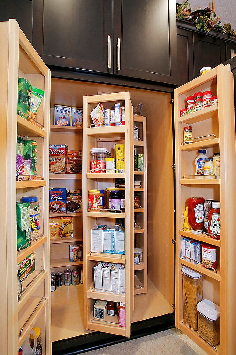 Exquisite folding cabinets and shelves for the small, smart pantry