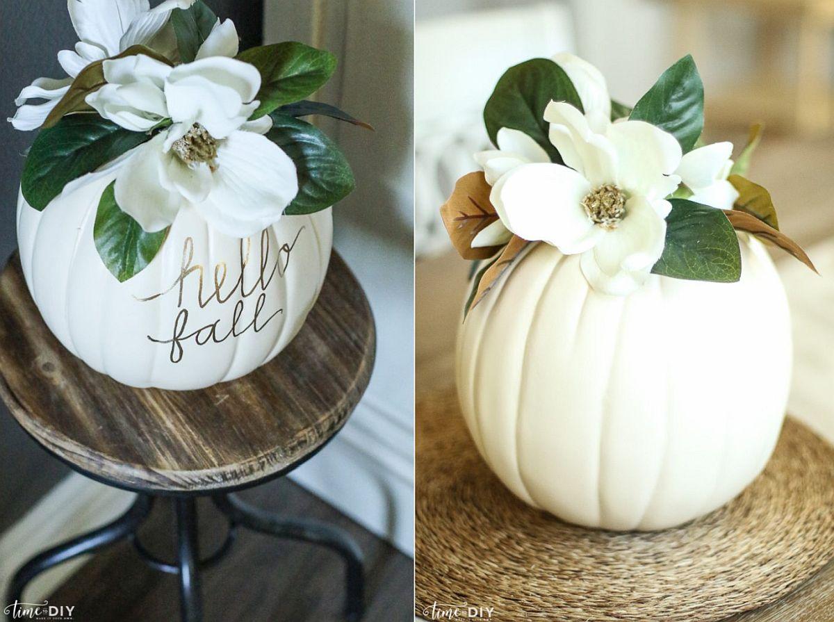 Fall Magnolia Pumpkin Idea for Thanksgiving