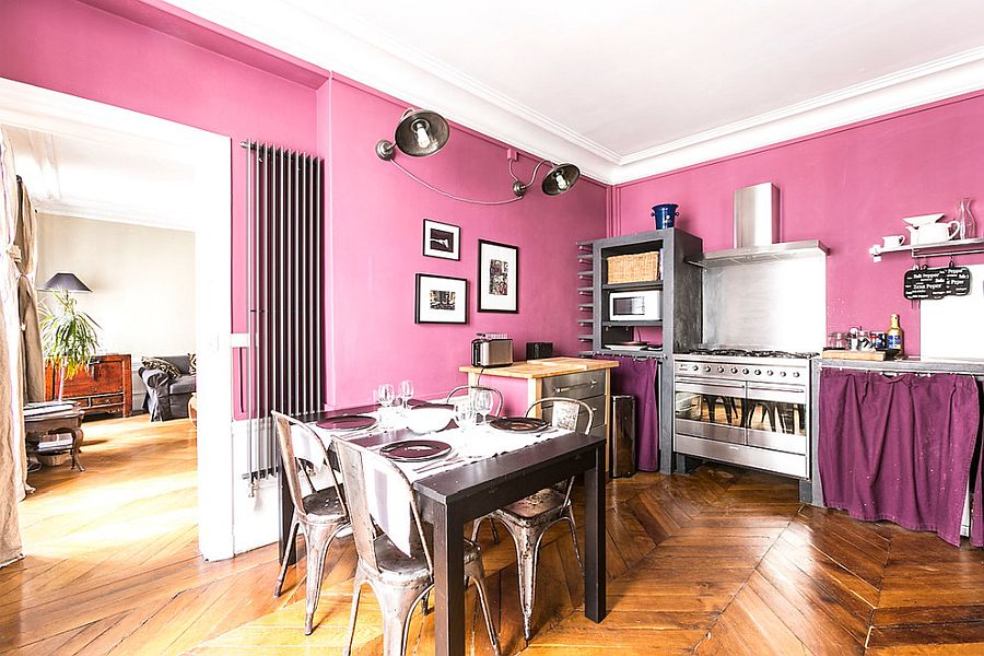 Finding the balance between pink and violet in the eclectic kitchen