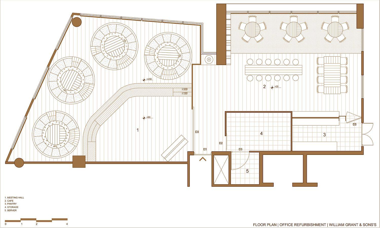 Floor plan of new office in Gurgram for William Grant & Sons