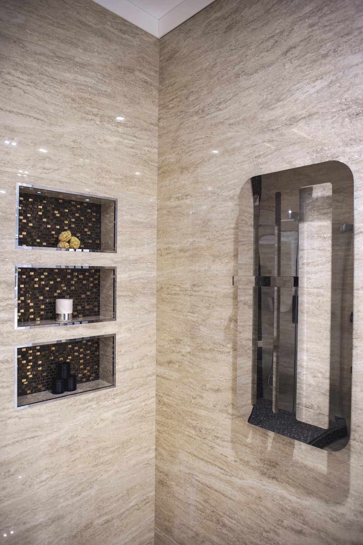 Glossy natural stone bahtroom enclosure