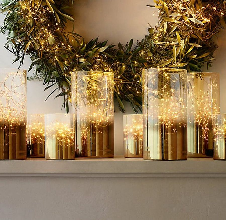 Gold, glass and green make for a lovely combination on the Holiday mantel