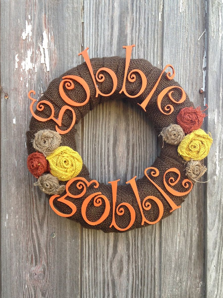 Gorgeous Thanksgiving Gobble Gobble wreath idea