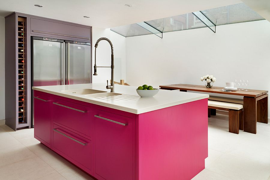 Gorgeous pink island for the refined contemporary kitchen in white