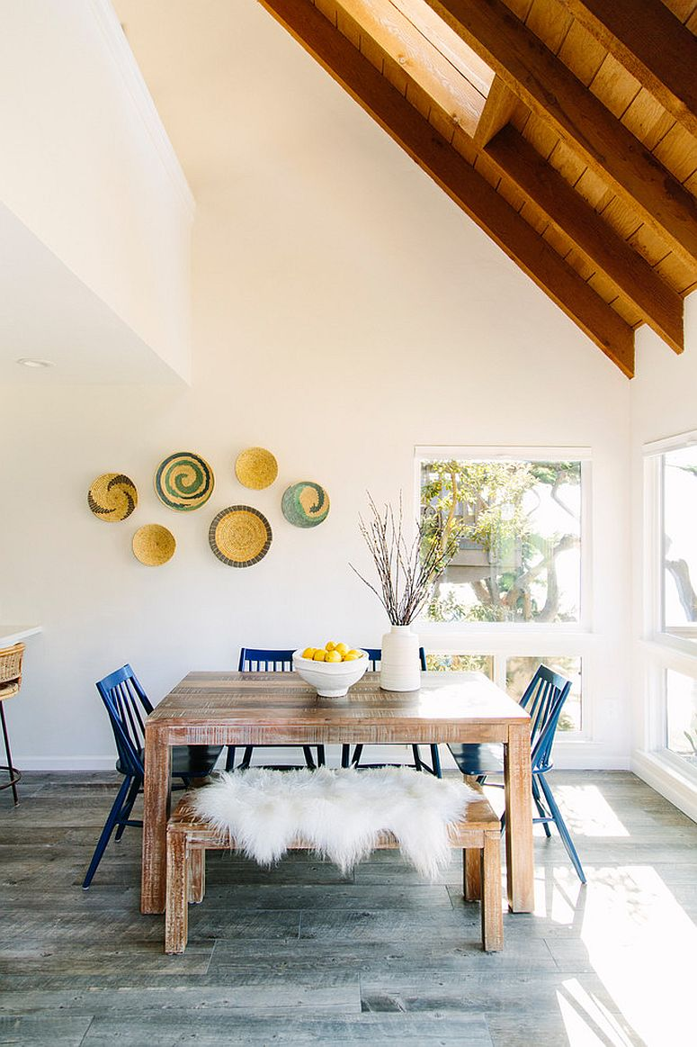 Height of the ceiling adds to the spaciousness of the small dining area