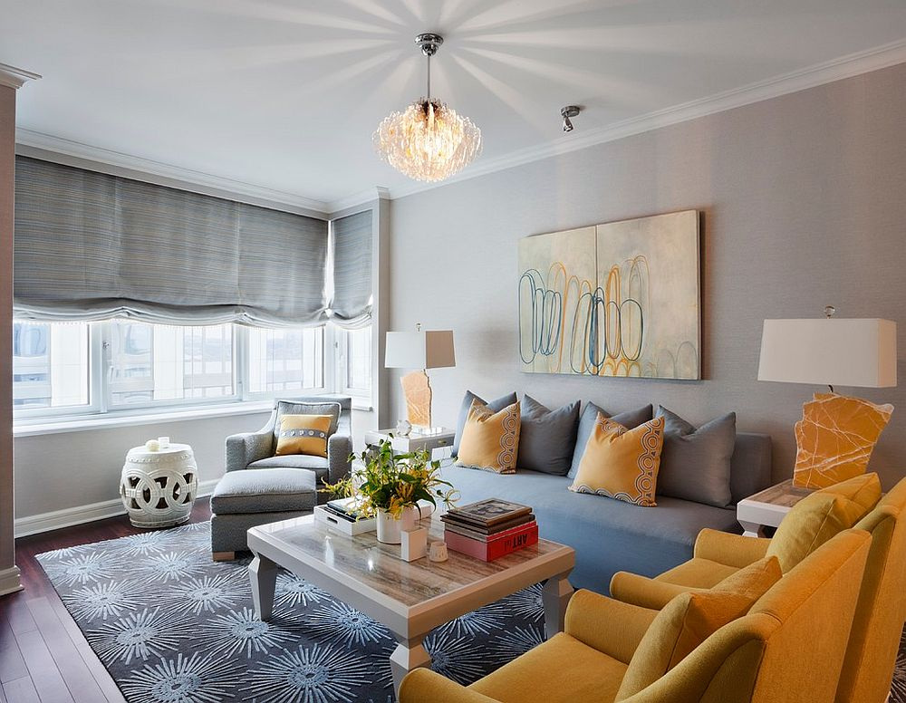Living room combines gray and yellow seating options beautifully
