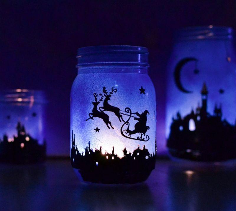 Magical DIY Christmas Lantern crafted using Mason Jars
