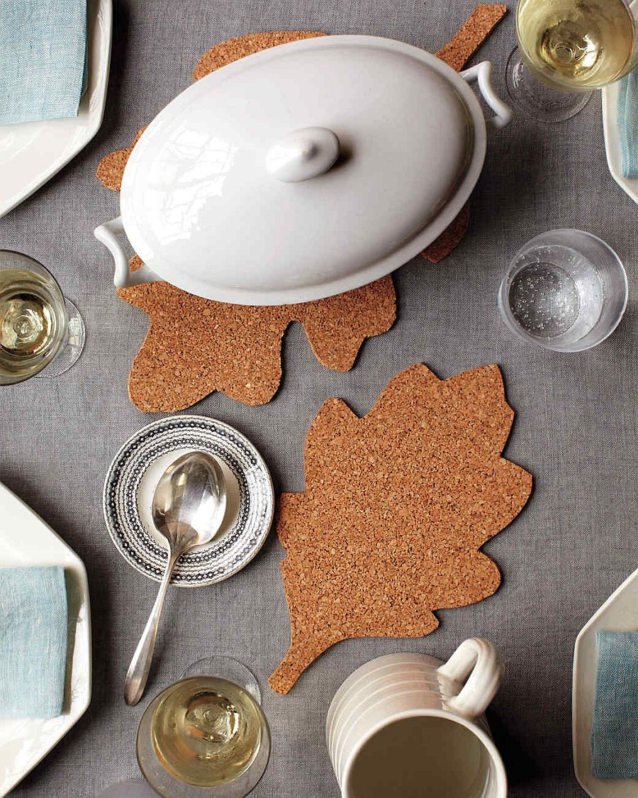 Make your own Corkboard Leaf Trivets