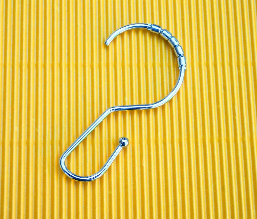 Metal shower curtain hook