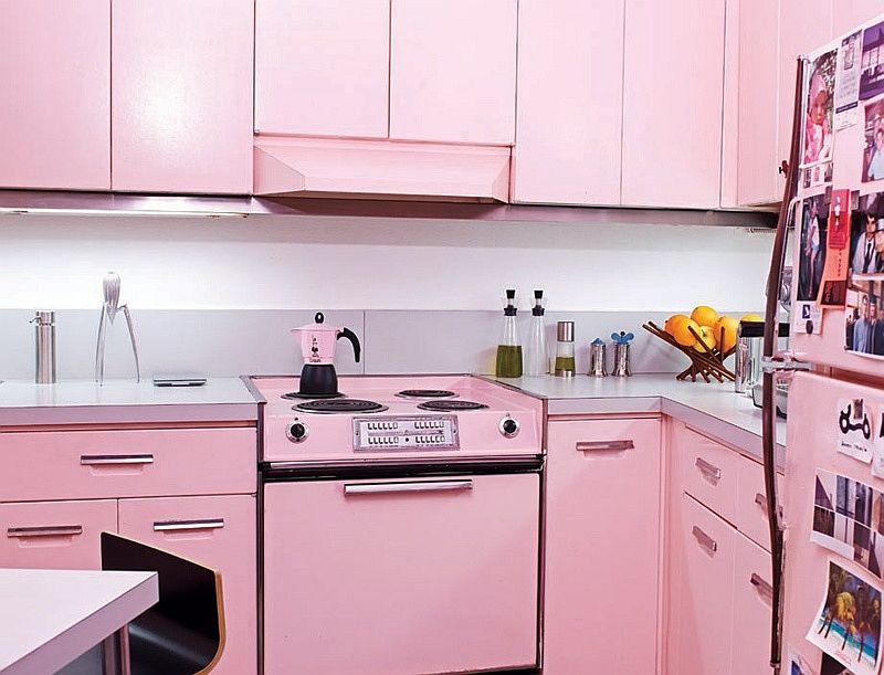 Modern kitchen in pastel pink feels relaxing