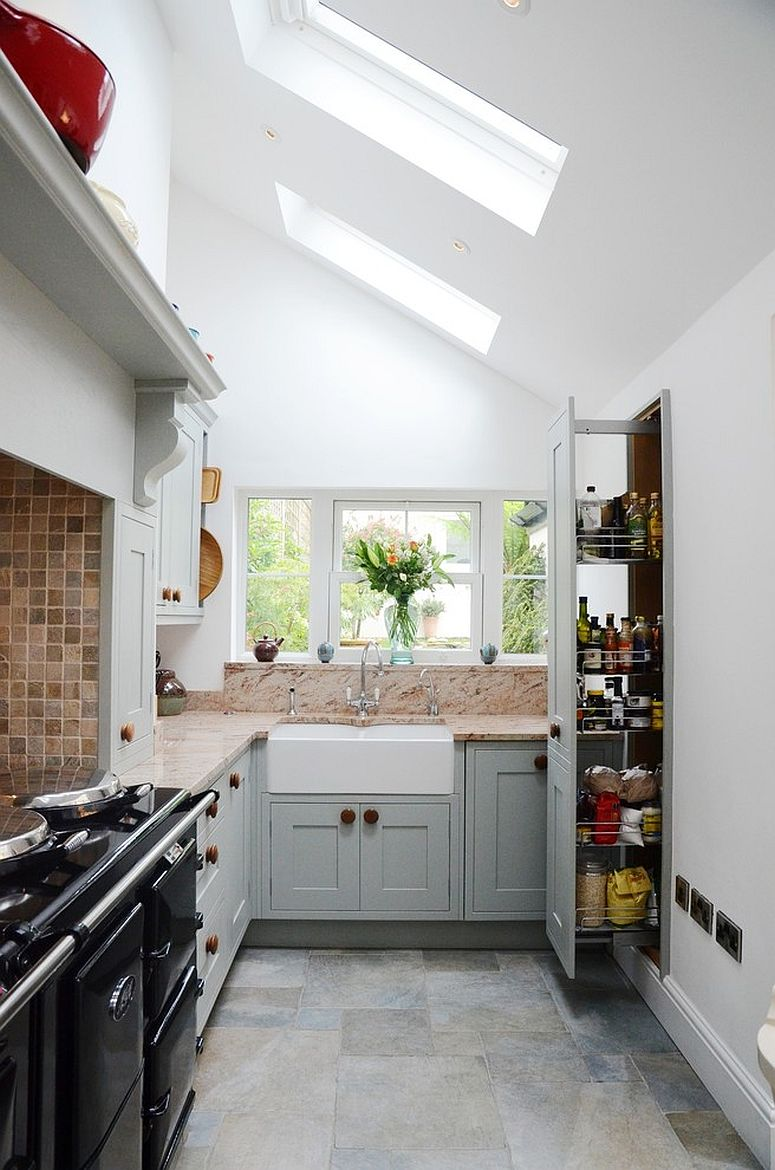Modern traditional kitchen with a pantry that can be tucked away into the walls!