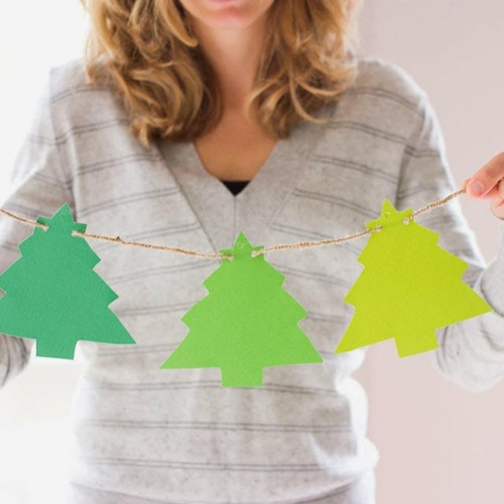 Ombre Christmas Tree Garland DIY