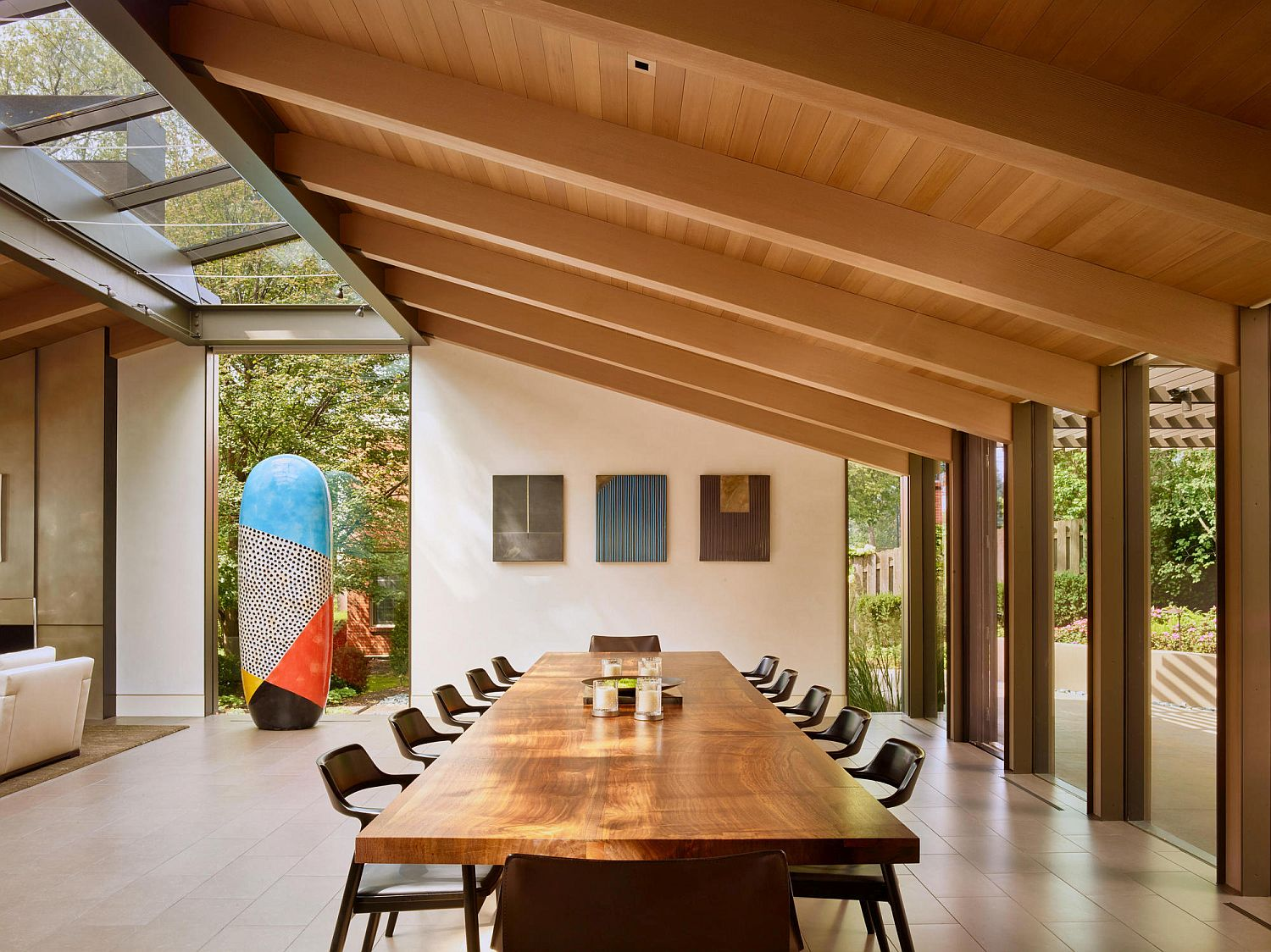 Open dining area of the home with lovely art display