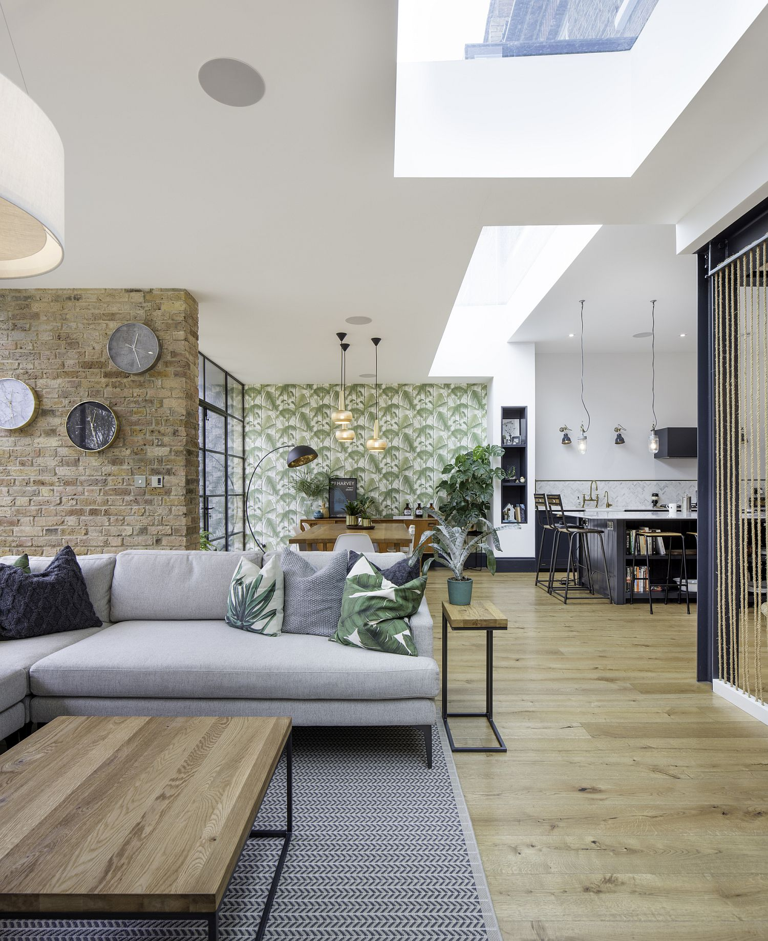 Open-plan-lower-level-living-area-of-Tactile-House-in-Dulwich-England