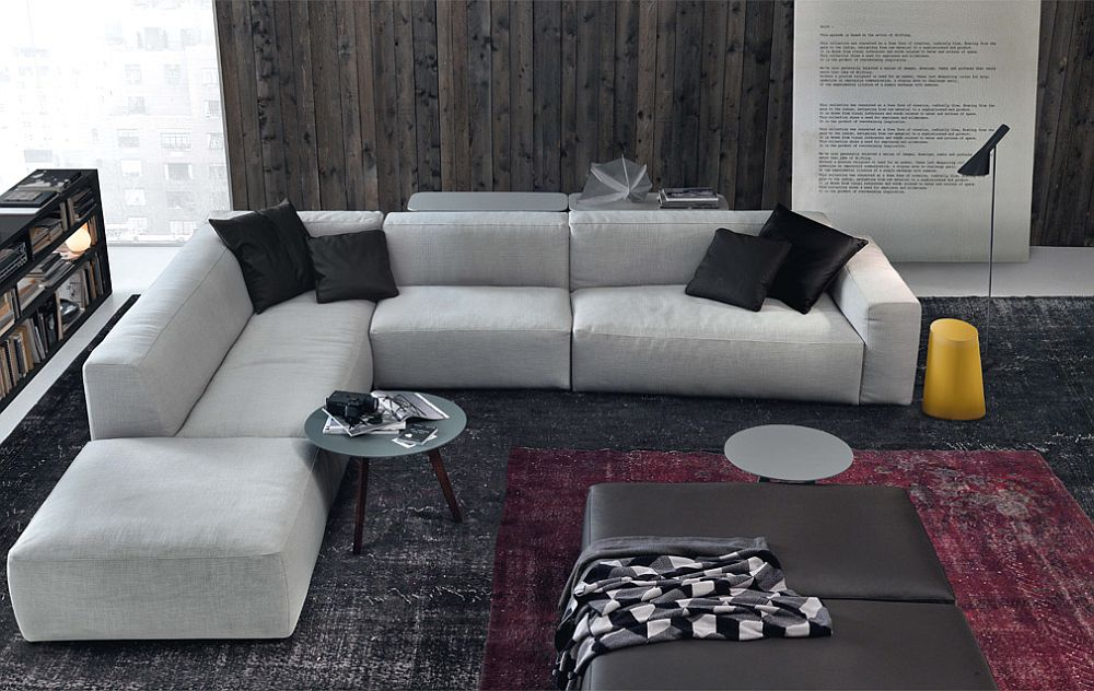 Plush Italian sectional in gray offers ample luxury!