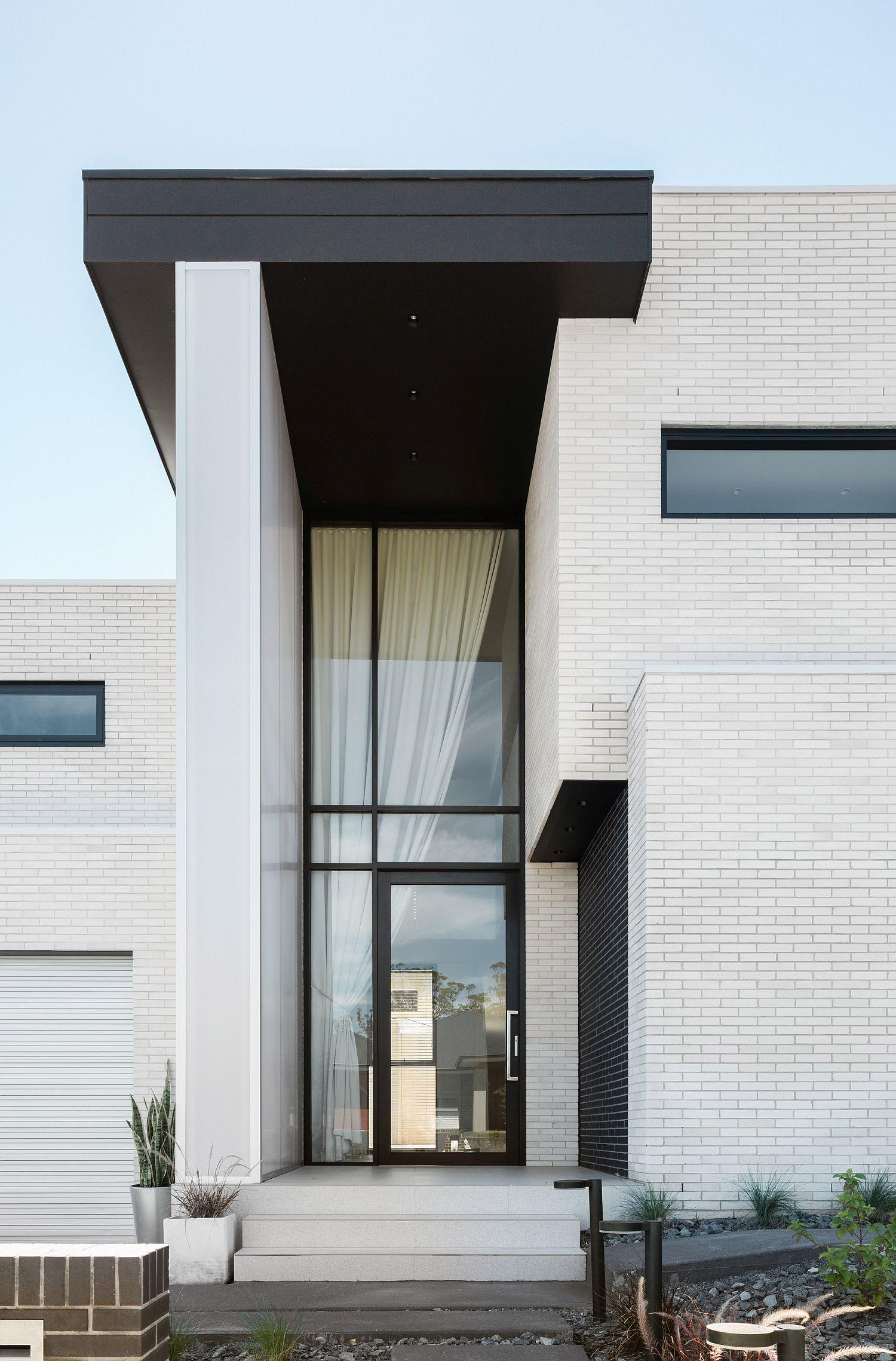 Private facade of contemporary suburban home in Sydney