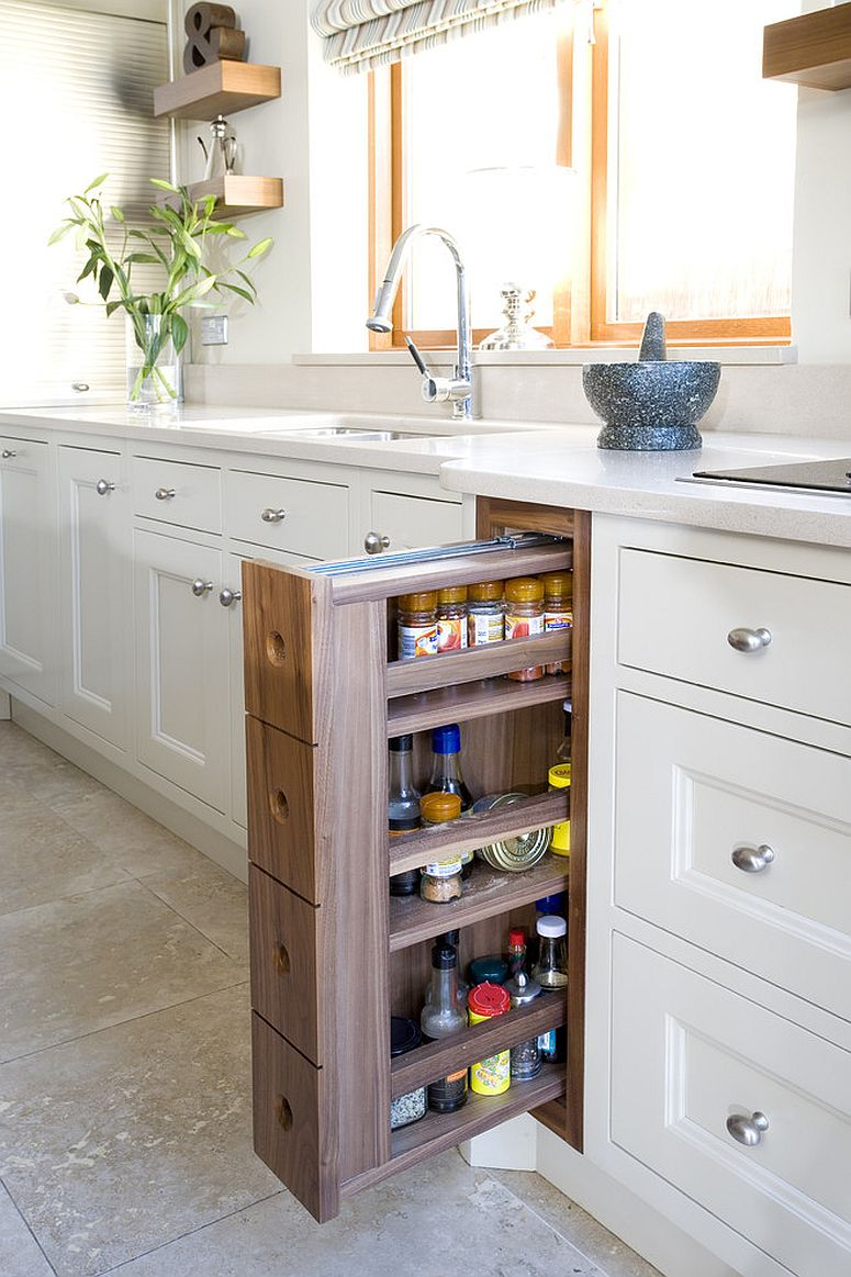 Pull-out drawers allow you to turn even a small nook into pantry