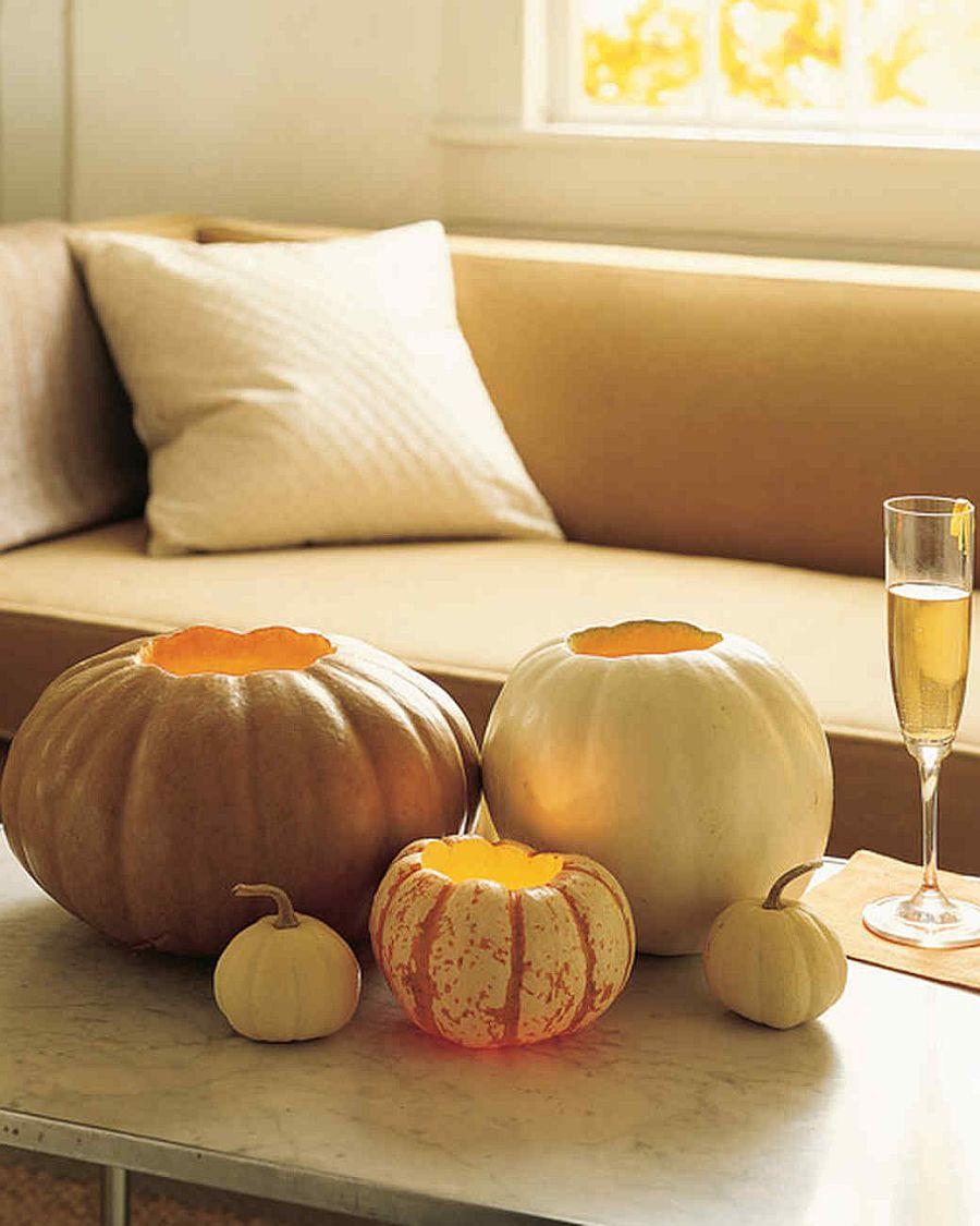 Pumpkin votive candle holders idea