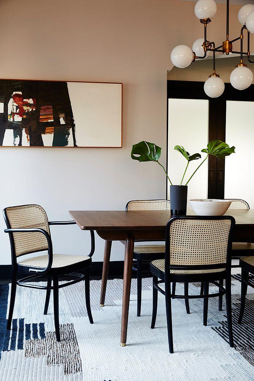 Refined modern beach style dining room idea