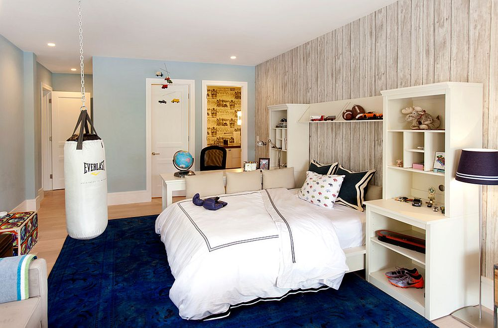 Rugs and pillows offer an easy way to add navy blue to the teen room this fall