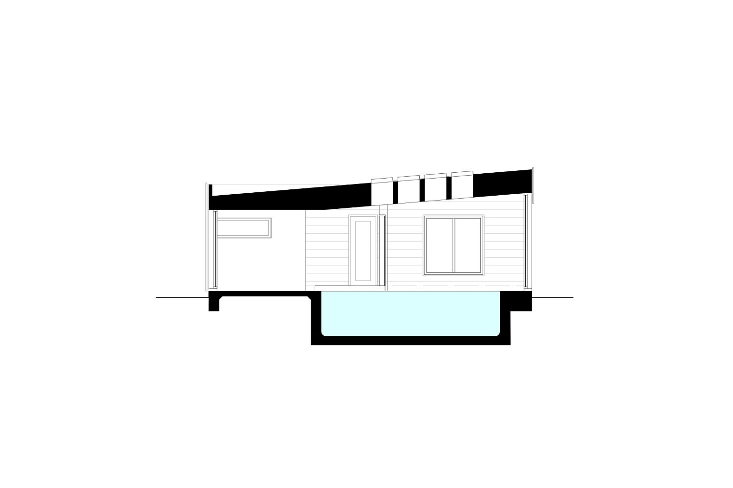 Sectional view of the pool house