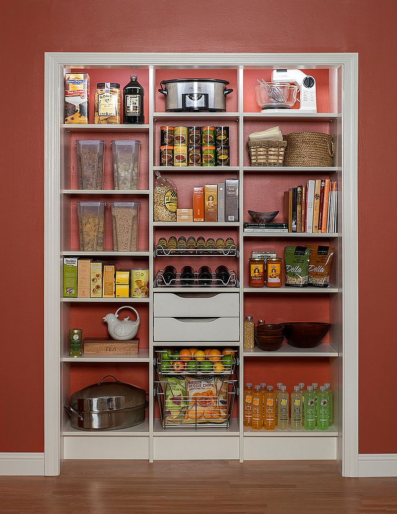 Simple shelf can be easily turned into a pantry with no doors!