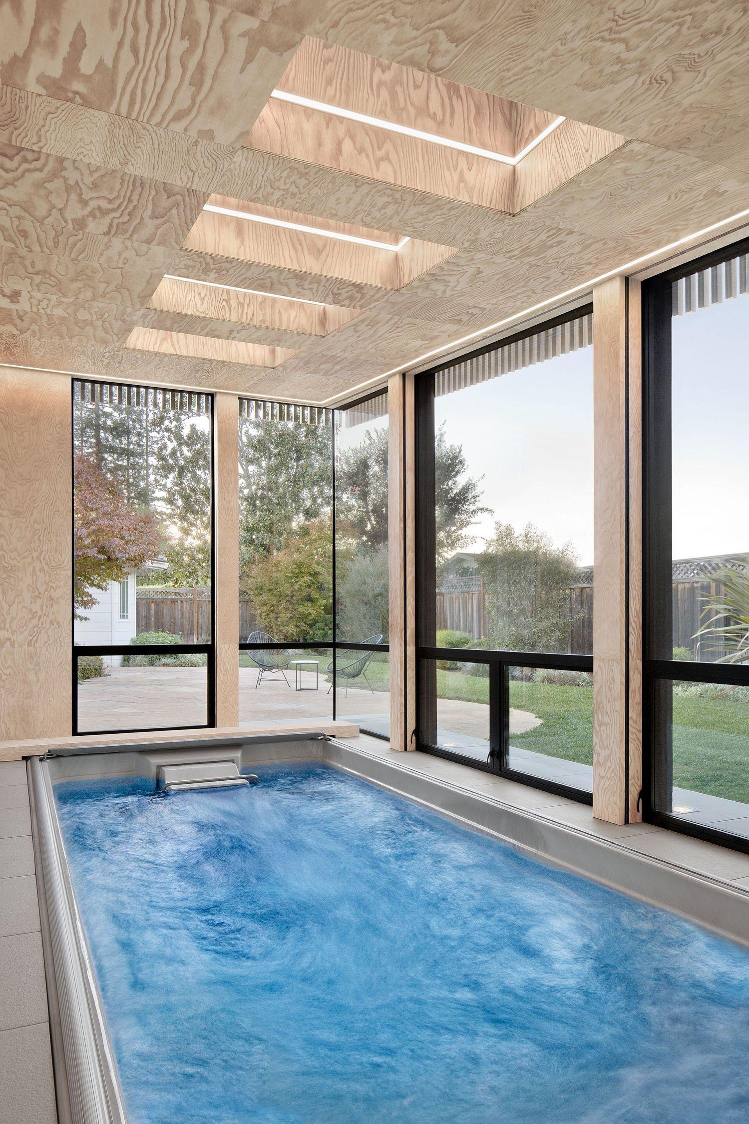Slim and elegant design of the pool house