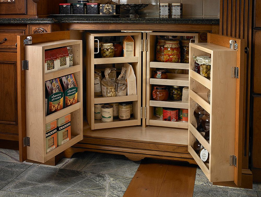 Small and space-savvy pantry design idea that opens up when needed!